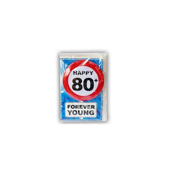 80 jaar ansichtkaart met button