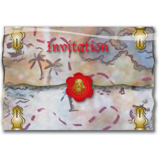 8x Piratenfeestje uitnodigingskaarten