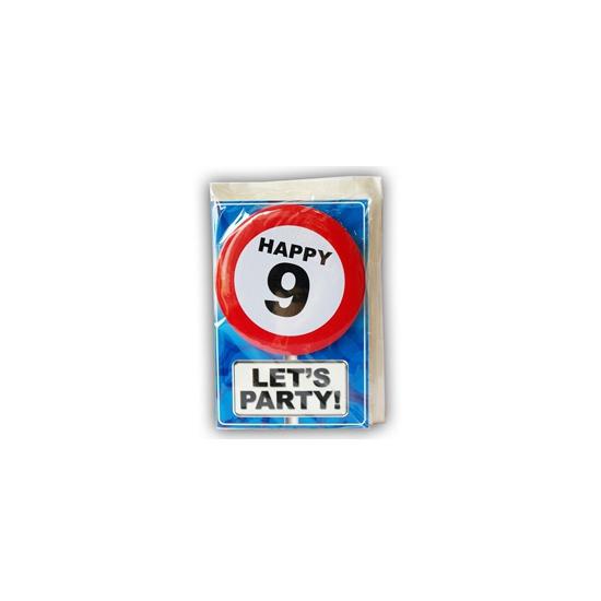 9 jaar ansichtkaart met button