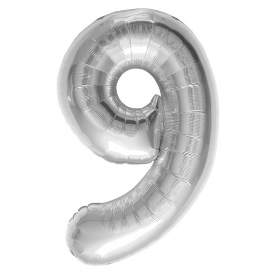 9 jaar helium ballon zilver