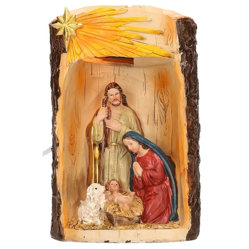 Beeldje heilige familie met verlichting 19 cm