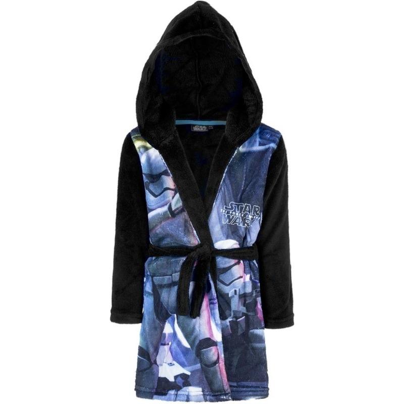 Blauw/zwarte Star Wars badjas met capuchon voor jongens