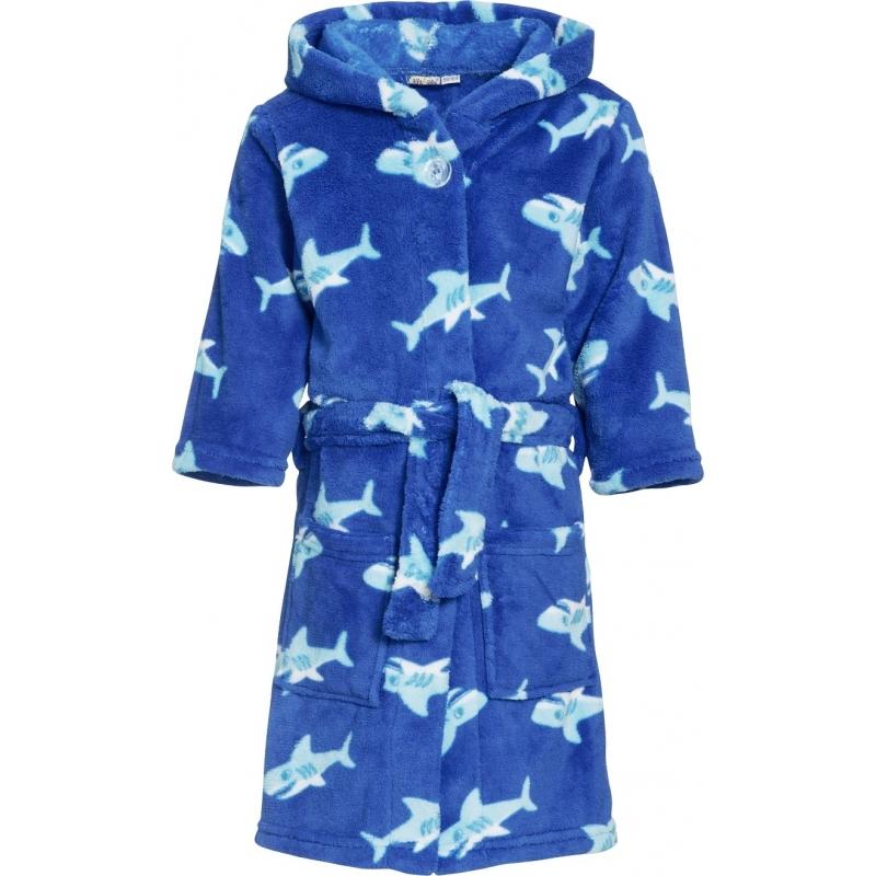 Blauwe badjas/ochtendjas haaien print voor kinderen