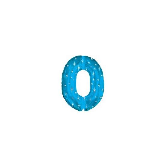 Blauwe folie ballon nummer 0