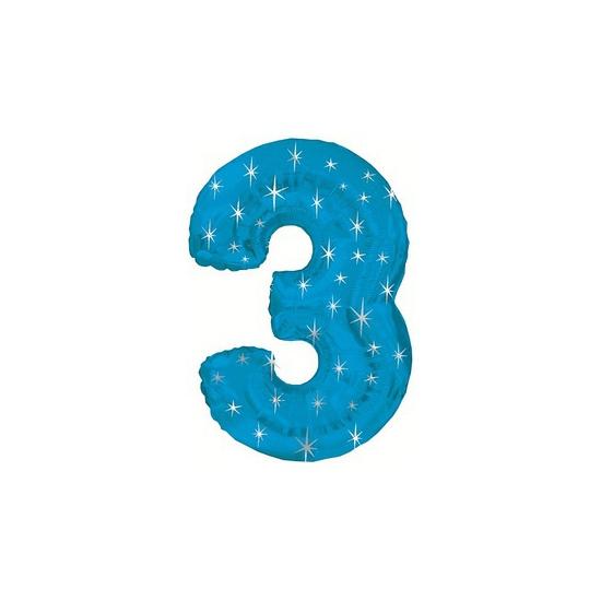 Blauwe folie ballon nummer 3