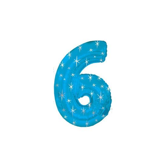 Blauwe folie ballon nummer 6