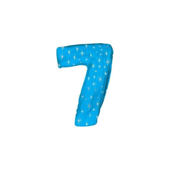 Blauwe folie ballon nummer 7