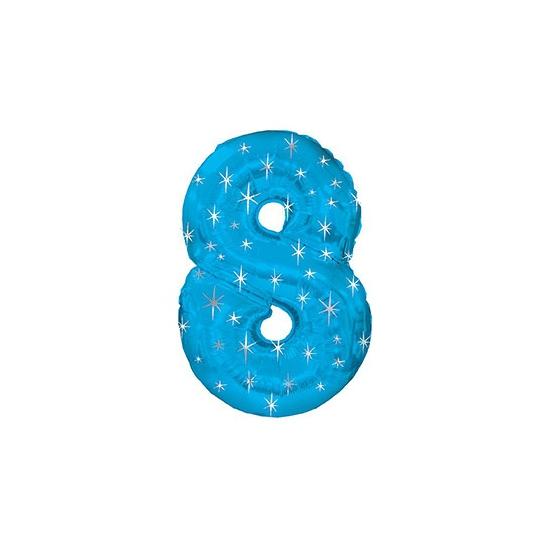 Blauwe folie ballon nummer 8