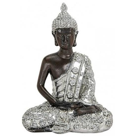 Boeddha beeldje zilver/zwart 15 cm woondecoratie