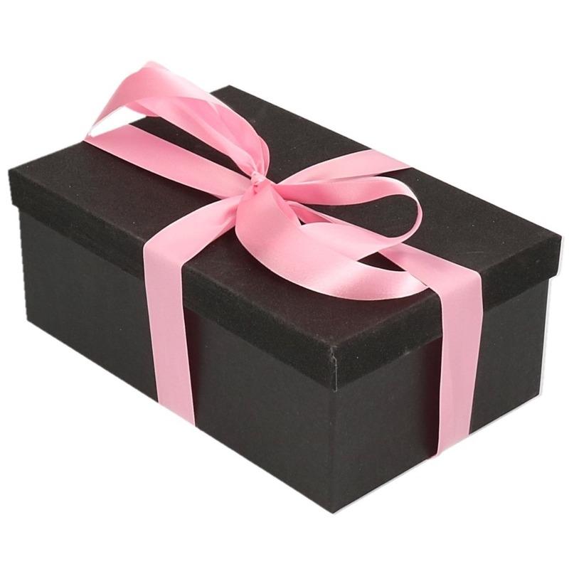Cadeau gift box set zwart glitter 22 cm en roze lint