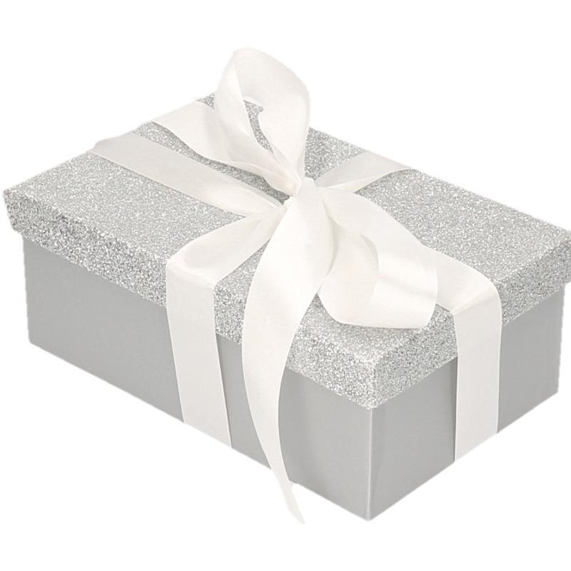 Cadeau gift box zilver glitter 22 x 14 cm en wit kadolint