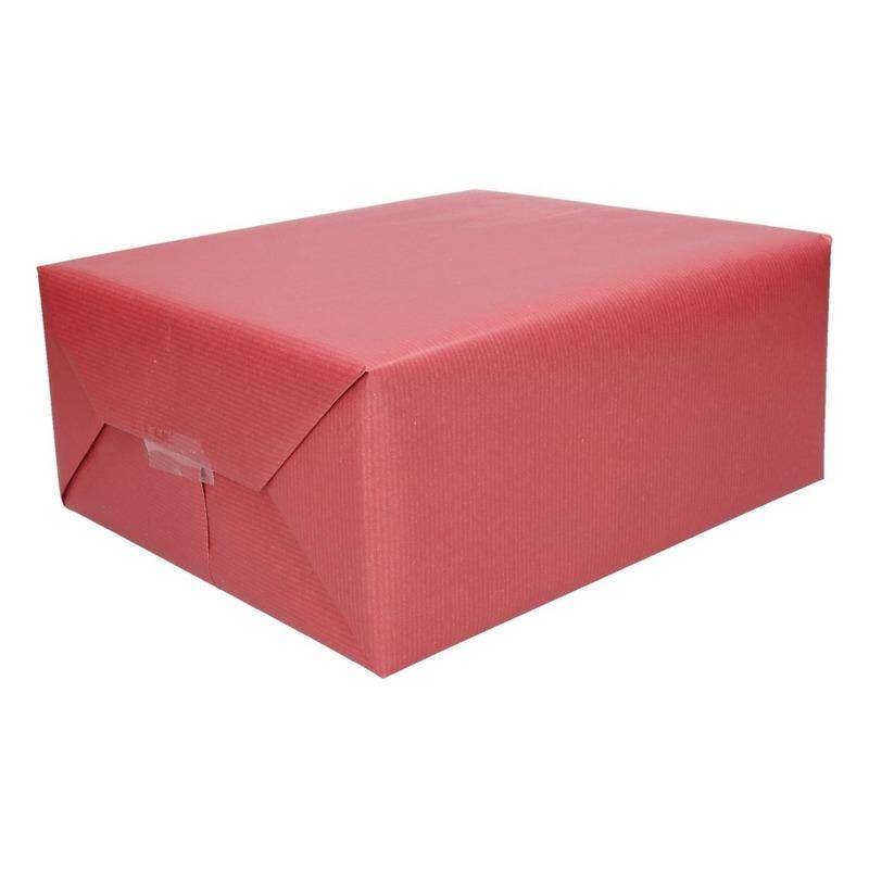 Cadeaupapier/inpakpapier donker rood 500 x 50 cm op rol