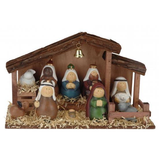 Complete kerststal met 10 figuren