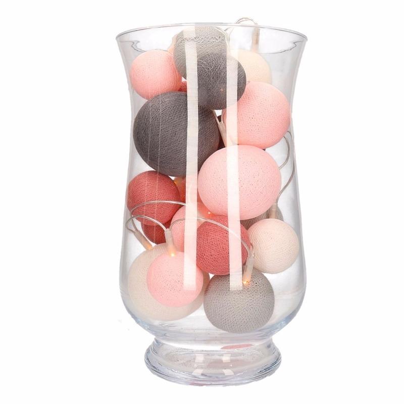 Cotton balls perfect combi roze/grijs verlicting inclusief vaas