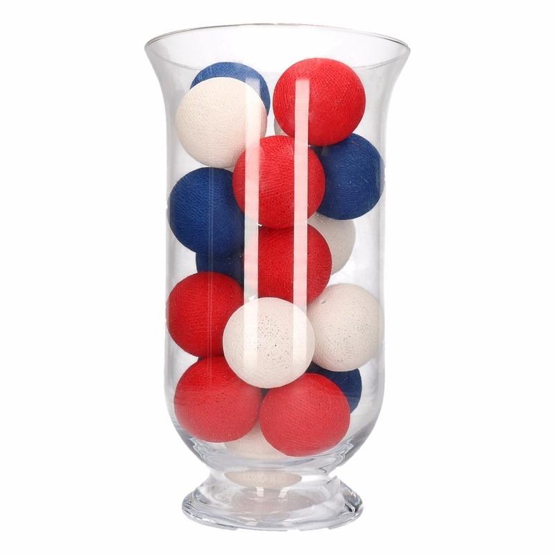 Cotton balls rood/wit/blauw inclusief vaas