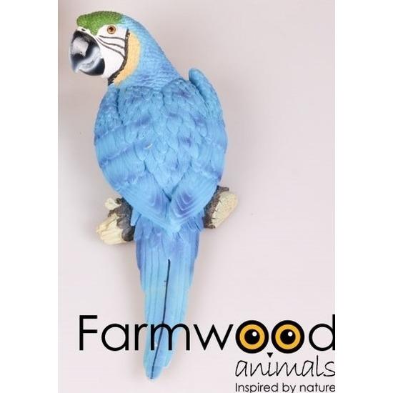 Dierenbeeld blauwe Ara papegaai vogel 30 cm