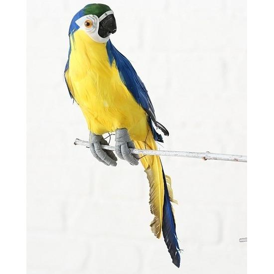 Dierenbeeld blauwe ara papegaai vogel 33 cm hangdecoratie