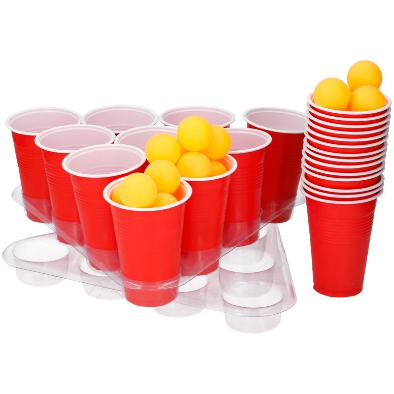 Drankspel/drinkspel grote beer pong set met rode cups 50 delig