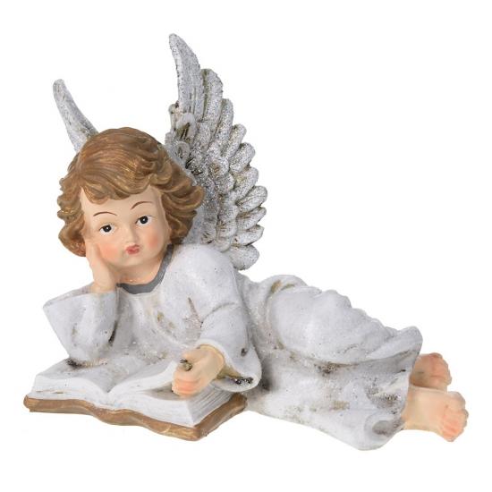 Engel met boek beeldje 21 cm type 2