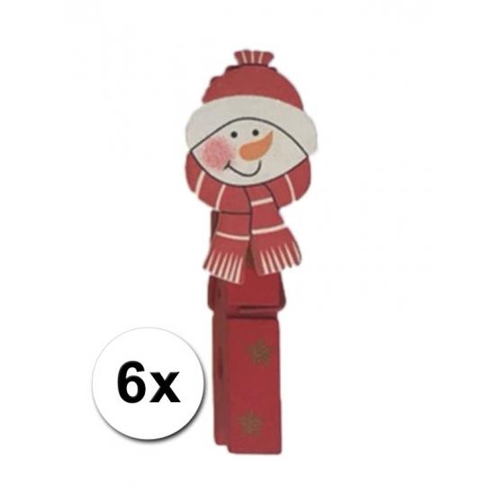 Feest kerstknijpers sneeuwpop 6 x