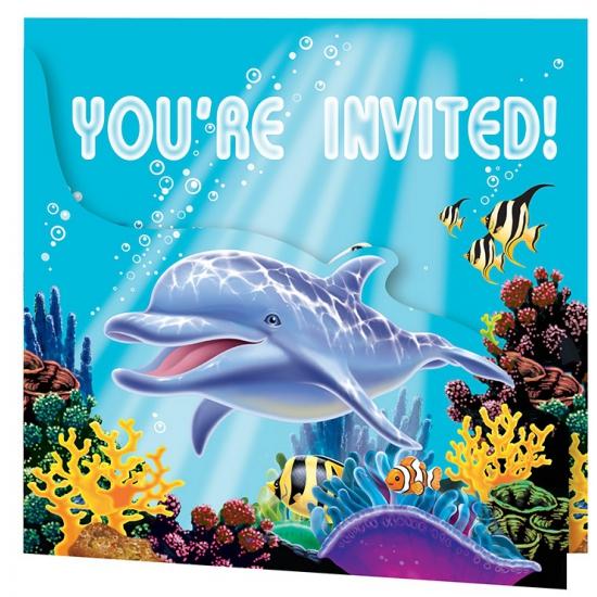 Feestartikelen oceaan uitnodigingen 8x stuks