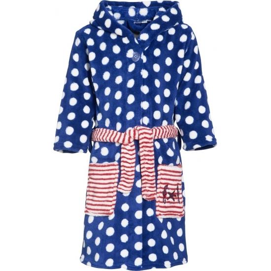 Fleece badjas blauw met Oeko Tex keurmerk voor kinderen