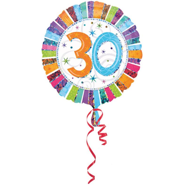 Folie ballonnen 30 jaar met helium