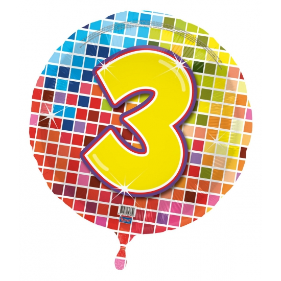 Gekleurde folieballon 3 jaar