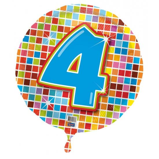 Gekleurde folieballon 4 jaar