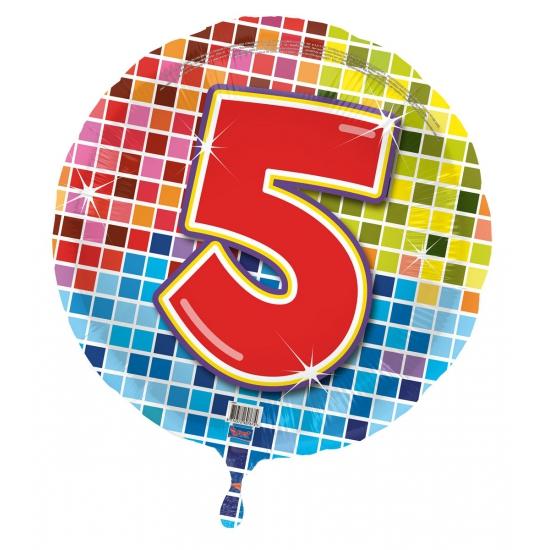 Gekleurde folieballon 5 jaar