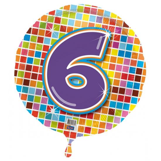Gekleurde folieballon 6 jaar
