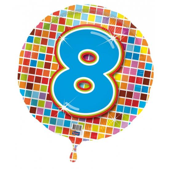 Gekleurde folieballon 8 jaar