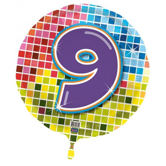 Gekleurde folieballon 9 jaar