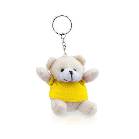 Gele teddybeer sleutelhanger 8 cm