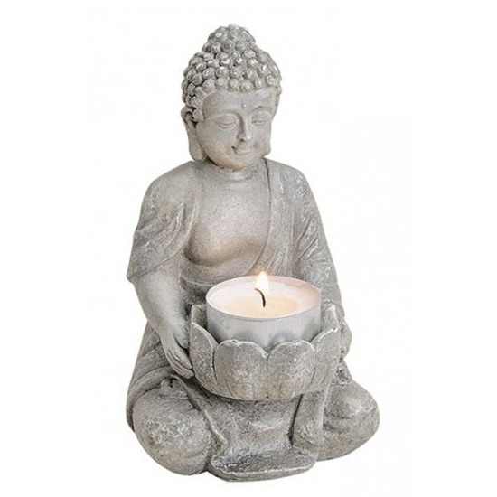 Grijs boeddha beeldje met waxine/theelicht houder 14 cm