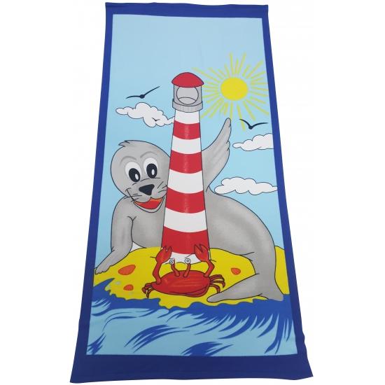 Grote zeehond cartoon handdoek 70 x 150 cm
