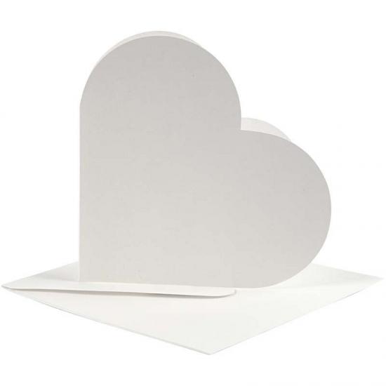 Hartvormige kaarten wit 10 stuks