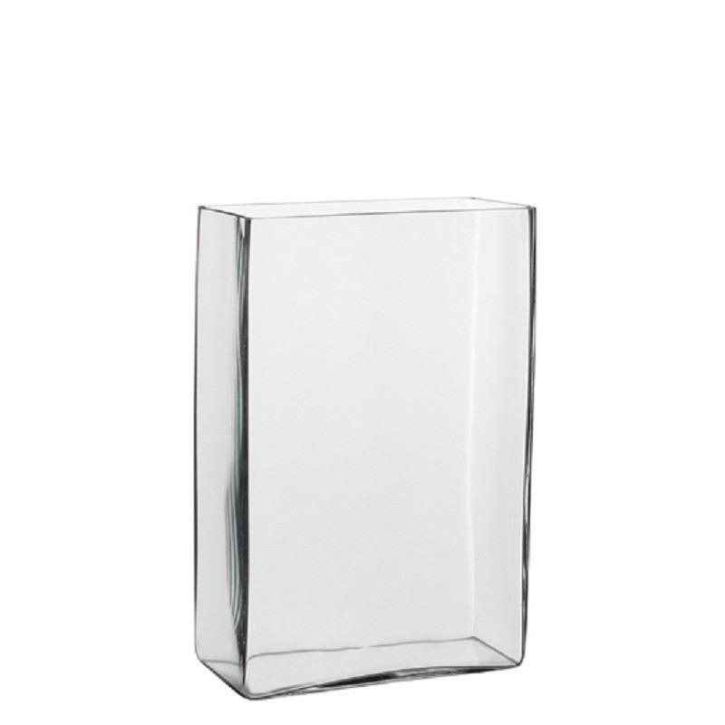 Hoge vaas/accubak transparant glas rechthoekig 20 x 10 x 30 cm