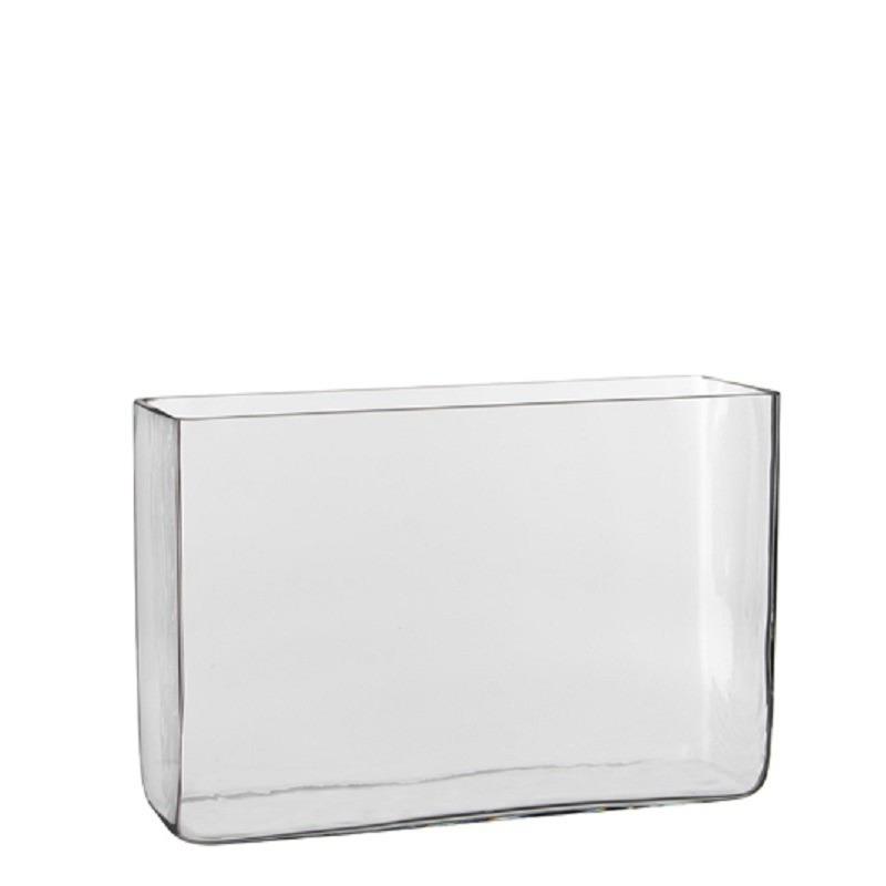 Hoge vaas/accubak transparant glas rechthoekig 30 x 10 x 20 cm