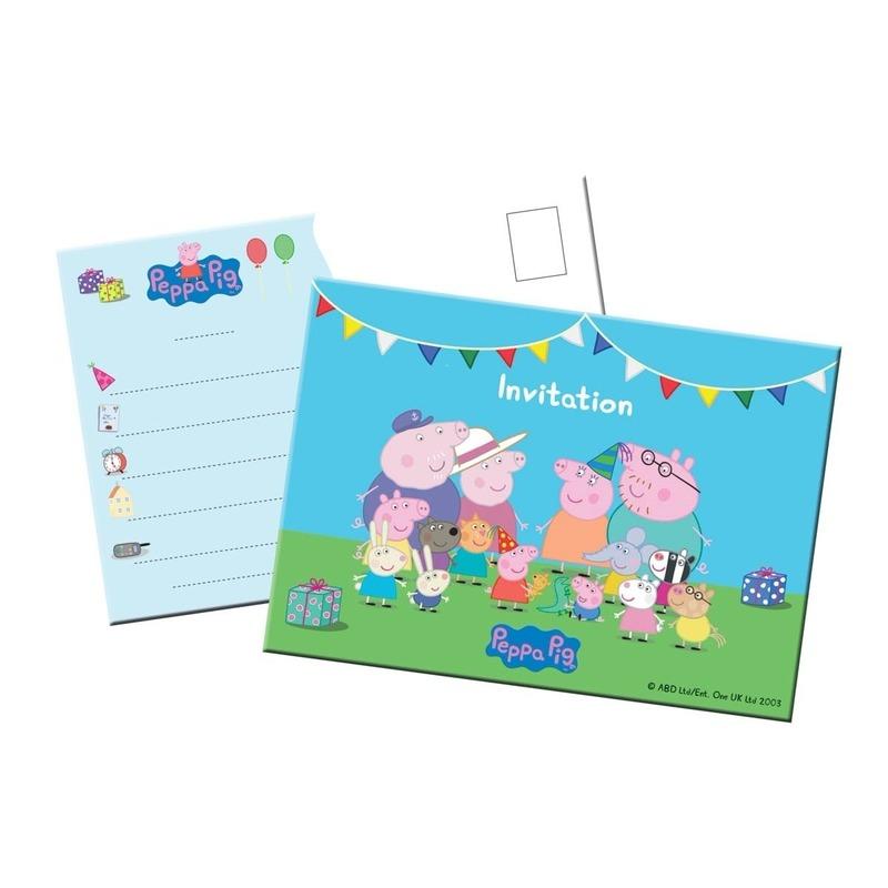 Invitations partijtje uitnodiging Peppa Pig 8 stuks