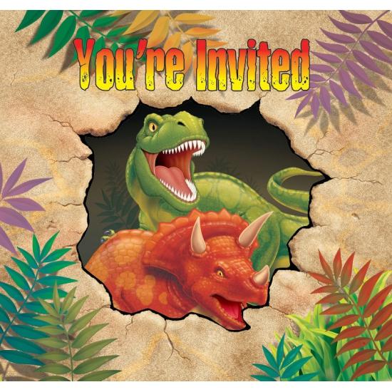 Kinder partijtje dinosaurus uitnodigingen 8 stuks