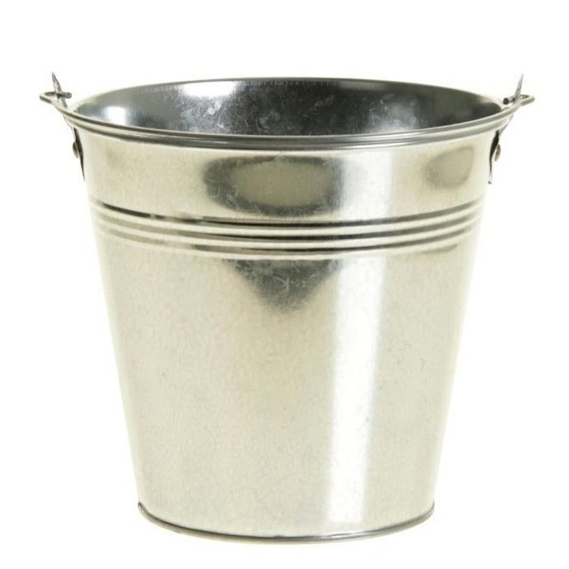 Klein zinken emmertje/bloempot zilver 9 cm hoog