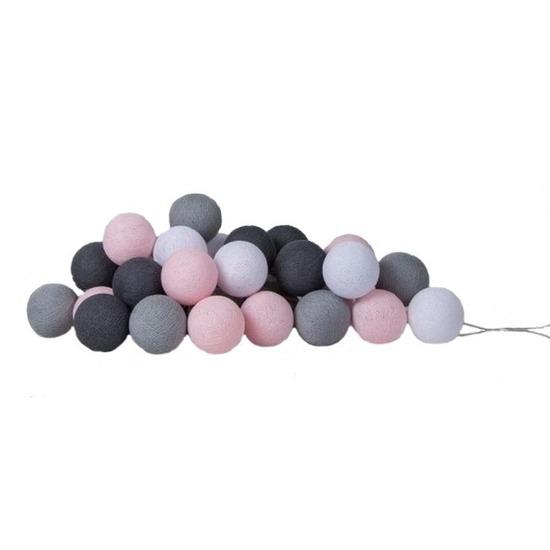 Lichtsnoer met 20 roze - grijze balletjes