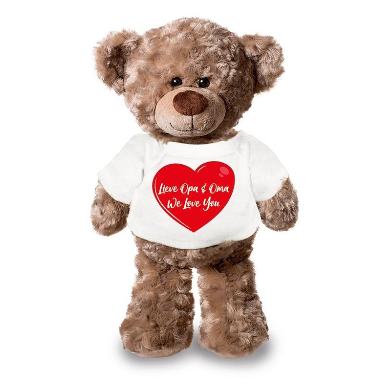 Lieve oma en opa we love you pluche teddybeer knuffel 24 cm