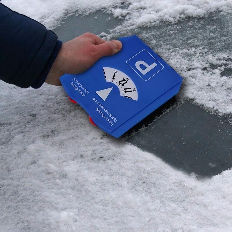 Luxe blauwe ijskrabber parkeerschijf