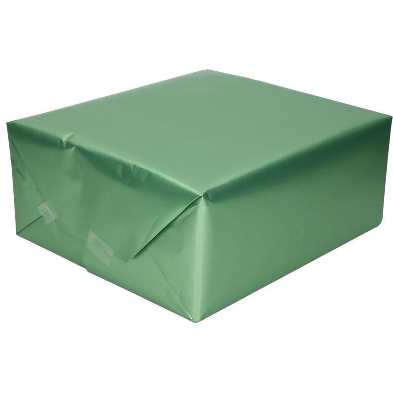 Luxe inpakpapier/cadeaupapier jadegroen zijdeglans 150 x 70 cm