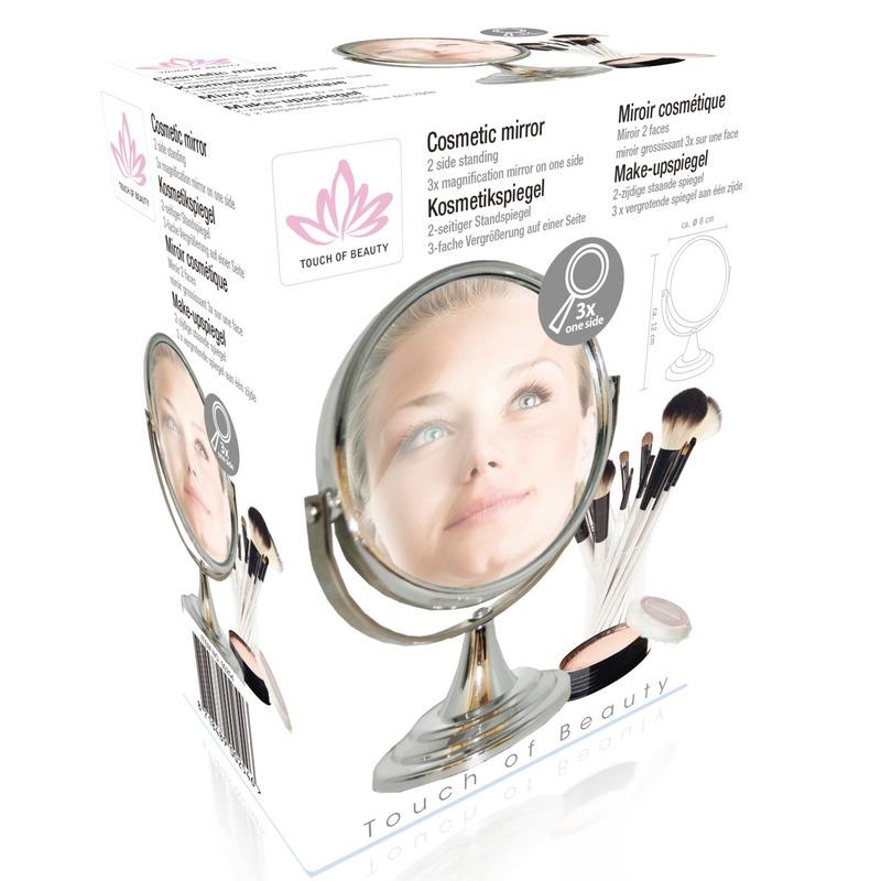 Make-up spiegel 2-zijdig zilverkleurig 8 cm