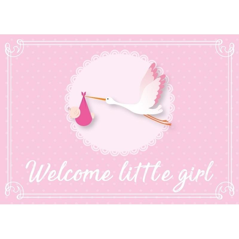 Meisje geboren ansichtkaart/wenskaart ooievaar kraamcadeau