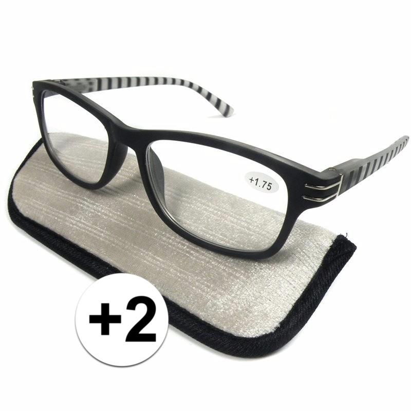 Modieuze leesbril +2 zwart/wit gestreept