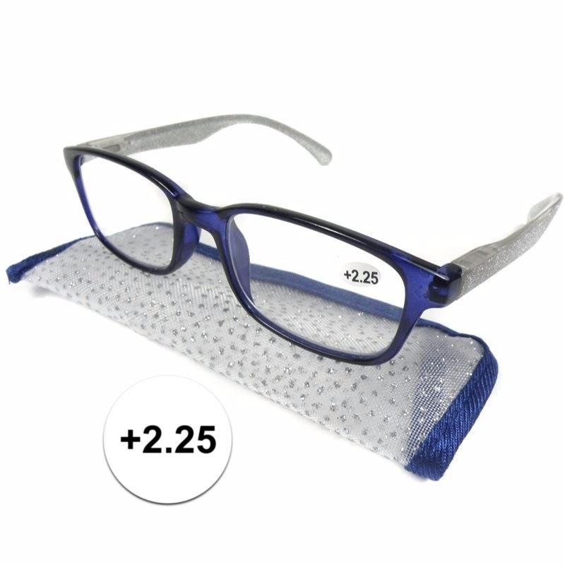 Modieuze leesbril +2.25 blauw met zilver